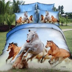 Universe of goods - Buy Horse Bedding set Queen size quilt duvet covers bed in a bag sheet Cotton bed sheets linen spread bedspread bedset for only 149 USD. Rustic Bedding Sets, 3d Bedding Sets, Bedding Sets Online, Queen Bedding Sets, Bedding Decor, Bedroom Decor, Bedroom Ideas, Blue Bedding, Full Duvet Cover