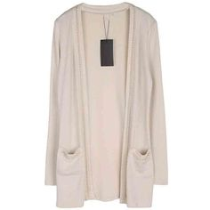 Beige Chain Edges Slim Cardigan ($24) ❤ liked on Polyvore featuring tops, cardigans, beige, pink cardigan, slimming tops, beige cardigan, pink top and long sleeve cardigan