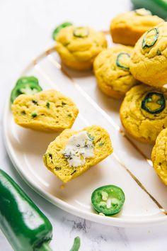Vegan jalapeño-cornbread muffins from jessica hylton-leckie of Vegan Recipes For One, Vegan Recipes Videos, Vegan Breakfast Recipes, Vegetarian Recipes, Baking Recipes, Jalapeno Cornbread Muffins, Vegan Cornbread, Paleo Honey, Lunch Snacks