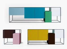 Framed Sideboard/Cabinets by Koenraad Ruys for Moca Modern Sideboard, Sideboard Cabinet, Cabinet Furniture, Furniture Styles, Cool Furniture, Modern Furniture, Furniture Design, Deco Design, Deco Table