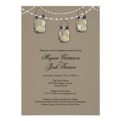 3 Hanging Mason Jars - Engagement Party Custom Announcement