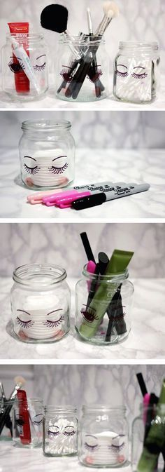 4 DIY Makeup Storage | Sharpie Markers; Glass Jars