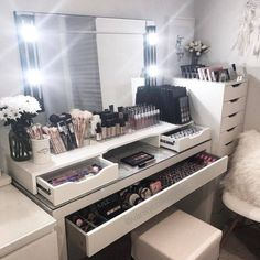 DIY Vanity Mirror With Lights For Bathroom And Makeup Station. Furniture: Wonderful Walmart Makeup Table For Bedroom . Black White Pink Beauty Room Home Salon Makeup Salon. Diy Vanity Mirror, Makeup Table Vanity, Vanity Room, Vanity Desk, Ikea Mirror, Makeup Vanities, Makeup Tables, Vanity Drawers, Makeup Desk