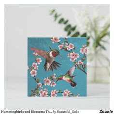 Hummingbirds and Blossoms Thank You Card Bird Patterns, Beautiful Gifts, Custom Greeting Cards, Hummingbirds, Zazzle Invitations, Thoughtful Gifts, Blossoms, Your Cards, Thank You Cards