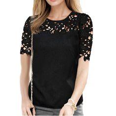 Лето топы женщины шифон полые кружево пэчворк блузы короткий рукав рубашки топы для женщины блузы купить в магазине Five Star Outlet на AliExpress