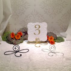 5 Large Wire infinity Bow table number holders, black, gold and silver table number holders