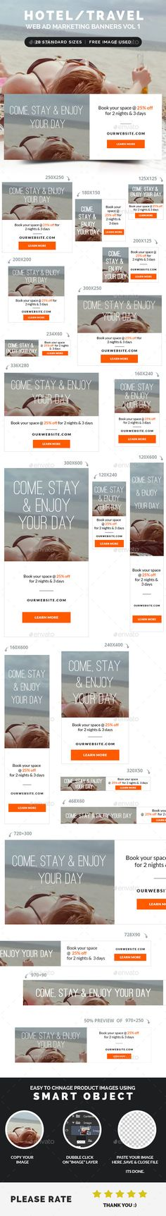 Hotel / Travel Web Ad Marketing Banners Template PSD   Buy and Download: http://graphicriver.net/item/hotel-travel-web-ad-marketing-banners-vol-1/8952771?WT.ac=category_thumb&WT.z_author=webduck&ref=ksioks