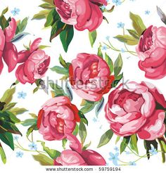 stock vector : Elegance Seamless color peony pattern on white background, vector illustration