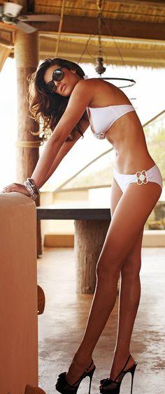 bathing beauty - white bikini bathing suit - summer beach style