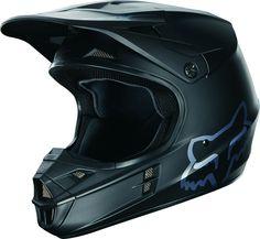 Fox Racing V1 Matte Black Mens Dirt Bike Off Road Motocross Helmets