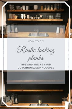 Ever wanted to have those old rustic looking shelves in your kitchen or anywhere else in your house? Then you've come to the right place! Diy Ideas, Decor Ideas, Just Style, Planks, Laminate Flooring, Easy Diy Projects, Step Guide, Home Renovation, Liquor Cabinet