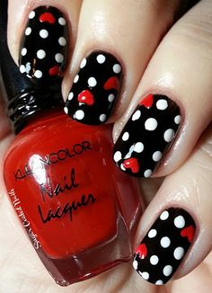 Black with white polka dots and red hearts - Valentine's Day Inspired Nail Designs!