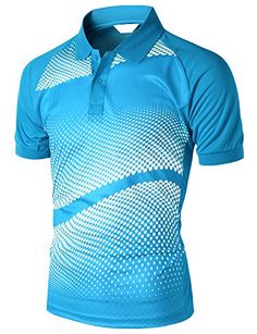men's Casual Cool Max Fabric Sporty Design Printed Short sleeve Collar Tshirts BLUE M Printed Polo Shirts, Polo T Shirts, Printed Shorts, Sport T-shirts, Fashion Advice, Shirt Designs, Men Casual, Sporty, Bikini