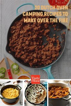 20 Dutch Oven Camping Recipes to Make Over the Fire Best Camping Meals, Camping Recipes, Dutch Oven Camping, Dinner This Week, Outdoor Cooking, Food To Make, Outdoors, Fire, Baking