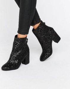 6d91672c00b New Look Glitter Heeled Ankle Boot at asos.com