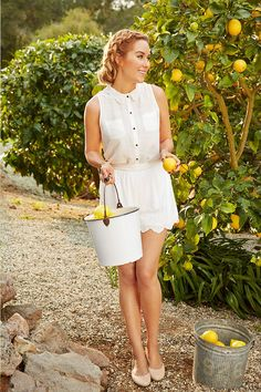 We love the delicate scalloped hem of this white romper. The design is mirrored on the collar and further complemented by the blush ballet flats. It's the perfect look for a spring stroll through the park (or lemon grove). Shop the entire LC Lauren Conrad collection only at Kohl's.