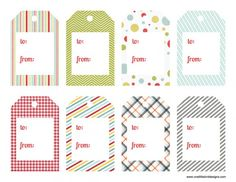 Patterned Variety Gift Tag printable! from One Little Bird blog. (I have used these at work before with PDF Typewriter function!)