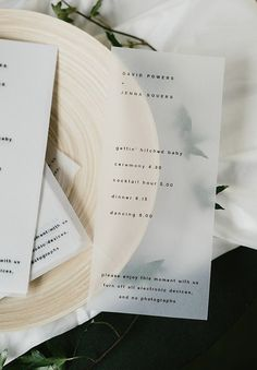 minimalist opaque vellum wedding program