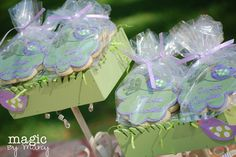 Marcy G's Baby Shower / Baby Bird (purple and green) baby shower - Photo Gallery at Catch My Party Baby Shower Verde, Shower Baby, Baby Shower Parties, Baby Shower Themes, Baby Shower Decorations, Baby Showers, Shower Ideas, Bird Cookies, Gender Announcements