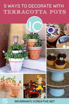 It's summertime when most homeowners make more than a few trips to the garden center. Stacks of terra cotta pots you pass on your way to the petunias are just waiting to be repurposed into items for home decor and entertaining. All it takes is a little imagination and readily available craft supplies to turn those inexpensive clay pots and saucers into useful works of art. Here are five ways.. Homemade Crafts, Easy Diy Crafts, Diy Craft Projects, Fun Crafts, Planter Ideas, Diy Planters, Knock Off Decor, Easy Home Decor, Summer Diy
