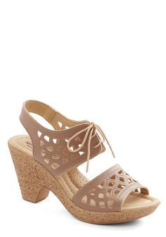 Kicks and Giggles Heel - Mid, Leather, Tan, Solid, Cutout, Casual, Spring, Summer, Better, Platform, Lace Up, Slingback, Daytime Party, Fest...