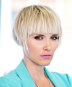 A short blonde straight coloured bob hairstyle by Web Collections