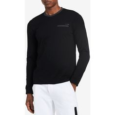Calvin Klein Men's Slim-Fit Textured Contrast Pocket Long-Sleeve... ($35) ❤ liked on Polyvore featuring men's fashion, men's clothing, men's shirts, men's t-shirts, charcoal, calvin klein men's t shirts, mens long sleeve cotton shirts, mens longsleeve shirts, calvin klein men's shirts and mens long sleeve shirts