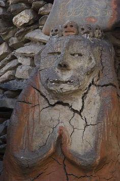 Pre-budhistic statue 'B?n' depecting male ancestor, Jharkot, Mustang, Nepal Mustang Nepal, Lion Sculpture, Statue, History, Vintage, Historia, Vintage Comics, Sculptures, Sculpture