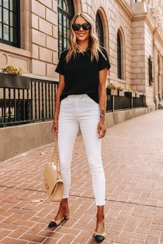 Jeans Outfit For Work, Summer Work Outfits, Outfit Jeans, Summer Outfit, Shirt Outfit, White Jeans Outfit Summer, Summer Ootd, Summer Time, Jeans Skinny Branco