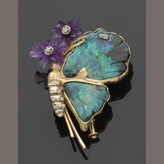Black Crystal Opal, Amethyst and Diamond Brooch