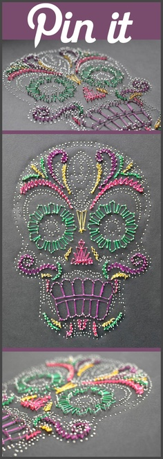 Use Pins and Thread to Create a Colorful Picture on Canvas.