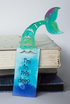 Mermaid Bookmark - Limited Edition - Original Hand Made Paper Cut Fantasy Themed with Quote - Basteln Bookmarks For Books, Creative Bookmarks, Cute Bookmarks, Paper Bookmarks, Bookmark Craft, Watercolor Bookmarks, Creative Crafts, Watercolor Art, Bookmark Template