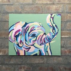 A personal favorite from my Etsy shop https://www.etsy.com/listing/237656014/abstract-elephant-painting-colorful