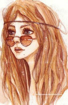 Natural Beauty (by Rinnemarielle) [hippie sunglasses] Hippie Peace, Hippie Love, Hippie Chick, People Illustration, Illustration Art, Pintura Hippie, Mode Poster, 60s Art, Feelin Groovy