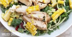 Kale, Corn, and Grilled Chicken Salad (made two ways)