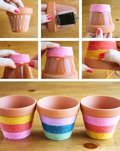 Flower Pots Do It Yourself - yarn wrapped flower pots! Add some bright color to your flower pots with this easy to do fun craft.Do It Yourself - yarn wrapped flower pots! Add some bright color to your flower pots with this easy to do fun craft. Flower Pot Crafts, Clay Pot Crafts, Crafts To Do, Crafts For Kids, Diy Crafts, Crafts With Yarn, Diy Flower, Home Craft Ideas, Garden Crafts