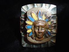 True Vintage Biker Ring Mexico Indian Head Shield Crest  Size 11  #Mexico #BikerLargeRustic