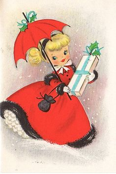 "Little Lady Vintage Christmas Card - love that ""snazzy"" outfit she's wearing  :)"