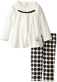 Tunic Leggings Calvin Klein Baby Girls' Tunic with Black Circles Printed Leggings, Black/White, 18 Months Girls Dress Pants, Baby Girl Dresses, Tunic Leggings, Printed Leggings, Toddler Girl Outfits, Toddler Girls, Baby Girls, Girls Tunics, Little Fashion