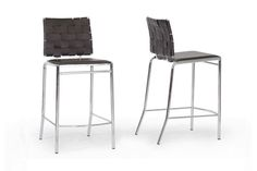 Baxton Studio Vittoria Brown Leather Modern Counter Stool | Bar Furniture | Affordable Modern Furniture in Chicago