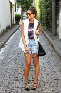Jeans Shorts - Thassia Naves Look moda fashion brasil brazil blogger style