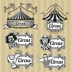 Vintage Circus Emblems Set