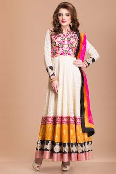 Cream color net Bollywood style designer Anarkali churidar suit lined with shantoon with price $139.08. Neckline embroidery embellished with, resham, zari, zircon, crystals and dabka work. Daman highlighted with mix and match zari and resham embroidered borders. Rani Shantoon churidar, rani net embroidered dupatta and mix and match border work.  http://www.andaazfashion.us/bollywood-style-designer-anarkali-churidar-suit.html