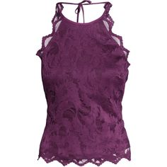 H&M Lace top ($11) ❤ liked on Polyvore featuring tops, shirts, tanks, dark purple, purple top, short tops, lace top, h&m tops and tie top
