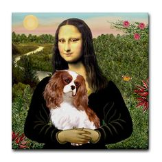 mona lisa just looks happier holding a cavalier kings charles spaniel! Cavalier King Charles Dog, King Charles Spaniel, Cute Dog Pictures, Animal Pictures, Mona Lisa, Spaniel Dog, Tier Fotos, Beautiful Dogs, Puppy Love