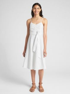 b1b5b7b900 Buy Gap Women s White Fit And Flare Cami Dress In Linen-cotton.