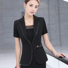 3cf15ea070e5 Women s jacket blazers 2017 Summer Cotton blended short sleeves waist belt small  Suit Jackets ladies Skinny