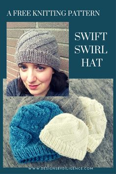 The Swift Swirl Hat pattern is A free knitting pattern to make a trendy hat. Learn how to make the right twist stitch on Designs by Diligence.