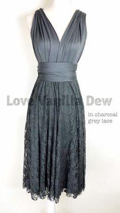 Bridesmaid Dress Infinity Dress Charcoal Grey Lace Knee Length Wrap Convertible Dress Wedding Dress