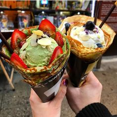 Left or right : Matcha Azuki(left) & NY Blueberry Cheesecake(right) : T-swirl Crepe NYC USA : @feedyourgirlfriend : Like what you SEE?! FOLLOW @matchafeels for more delicious matcha content! : &Don't forget to use hashtag #matchafeels to share your matcha finds!